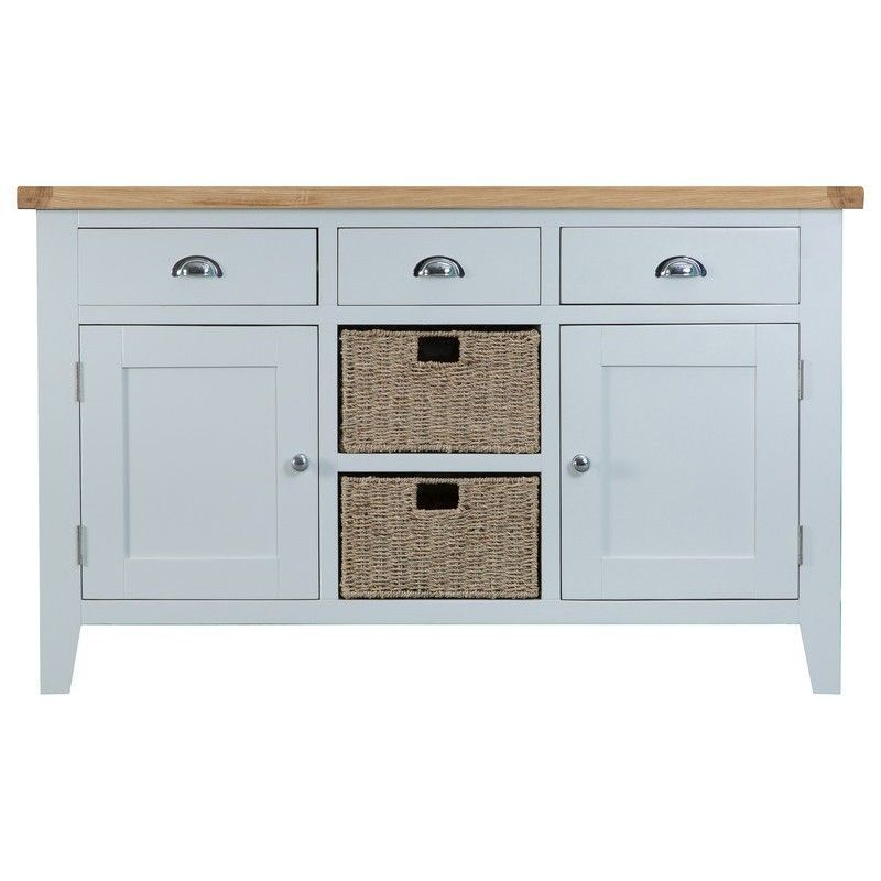 Lighthouse Oak Top Large 2 Door 3 Drawer Sideboard - Grey