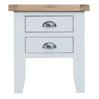 See more information about the Lighthouse Oak Top 2 Drawer Lamp Table White