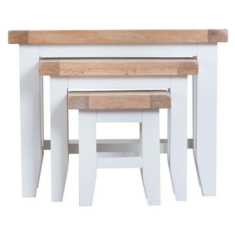 Lighthouse Oak Top Nest Of 3 Tables White Wood Home Furniture Ebay