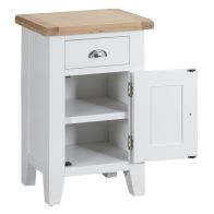 See more information about the Lighthouse Small Cabinet Oak & White 1 Door 1 Drawer