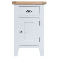 See more information about the Lighthouse Oak Top 1 Door 1 Drawer Small Cupboard White