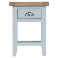See more information about the Lighthouse Side Table Grey & Oak 1 Shelf 1 Drawer