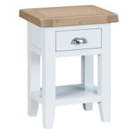 See more information about the Lighthouse Side Table Oak & White 1 Shelf 1 Drawer