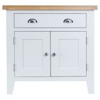 See more information about the Lighthouse Oak 2 Door 1 Drawer Small Sideboard White