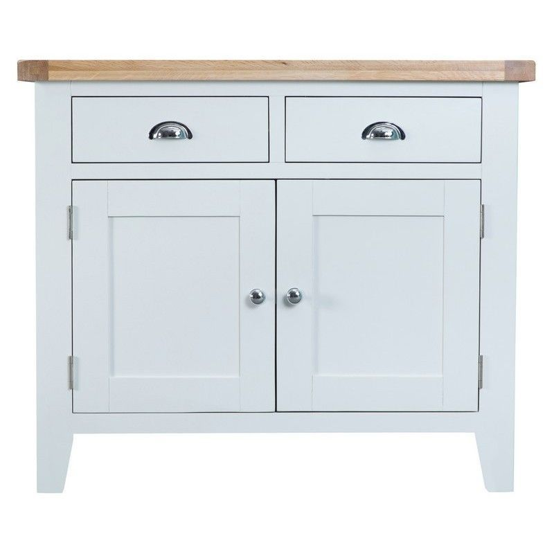 Lighthouse Oak Top 2 Drawer 2 Door Sideboard - White