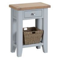 See more information about the Lighthouse Telephone Table Grey & Oak 1 Shelf 1 Drawer