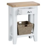 See more information about the Lighthouse Telephone Table Oak & White 1 Shelf 1 Drawer