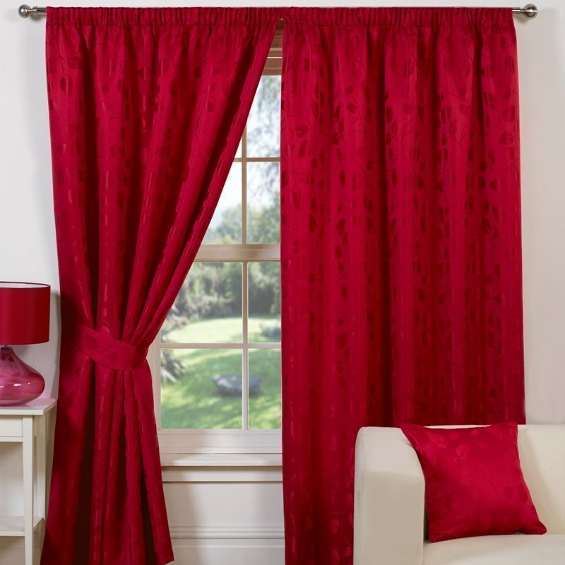 "Trieste Curtains (45"" Width x 72"" Drop) - Red"