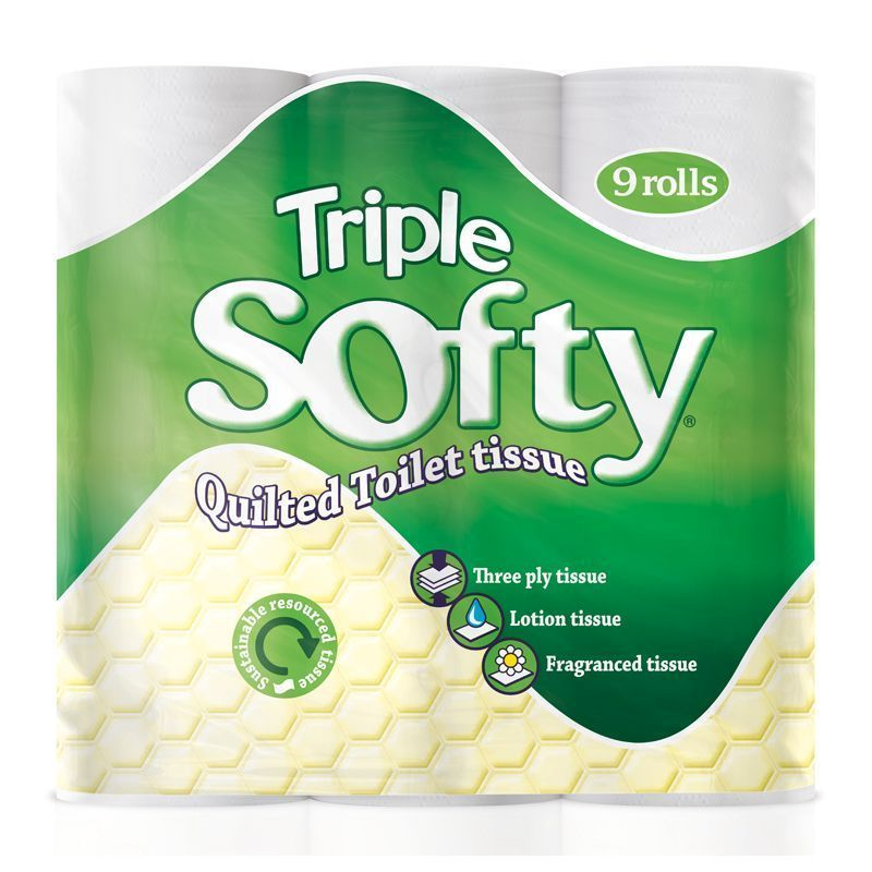 9 Pack of Triple Soft White 3 Ply Toilet Tissue