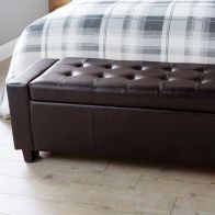 See more information about the Verona Brown Faux Leather Ottoman Bench Blanket Storage Box