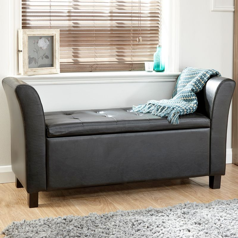 Verona Window Seat Black & Faux Leather With Storage