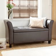 See more information about the Verona Window Seat Brown & Faux Leather With Storage