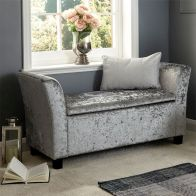 See more information about the Verona Window Seat Grey & Crushed Velvet With Storage