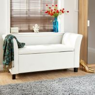 See more information about the Verona Window Seat White & Faux Leather With Storage