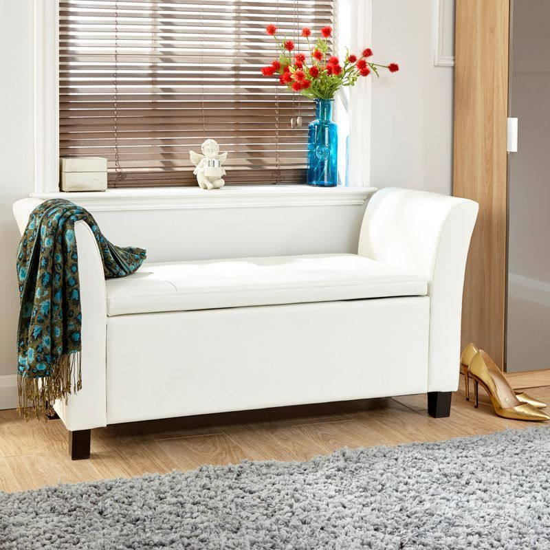 Verona Window Seat White & Faux Leather With Storage