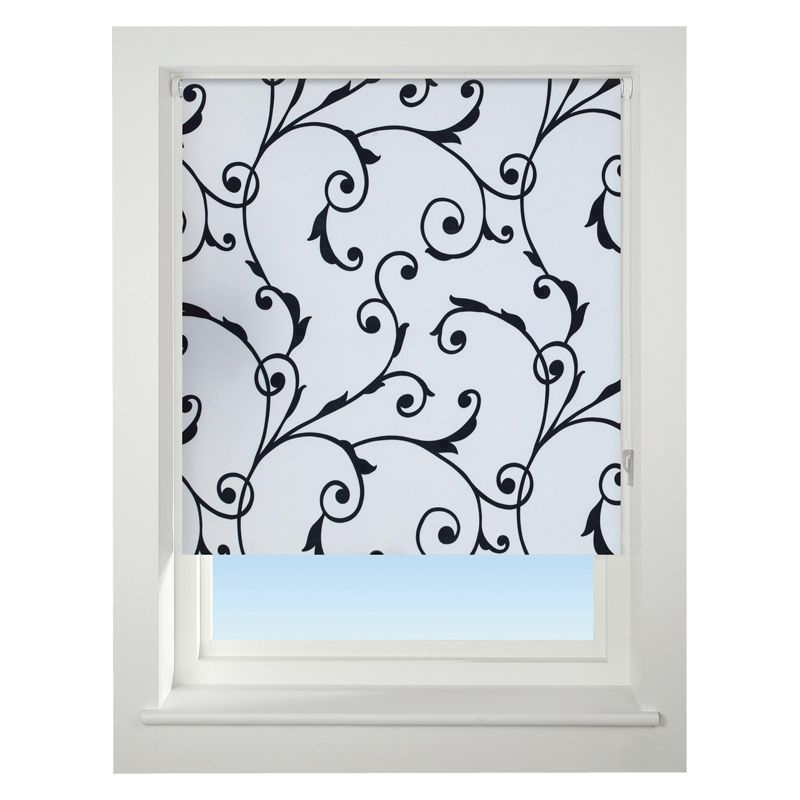 Universal 90cm White & Black Virginia Blackout Roller Blind