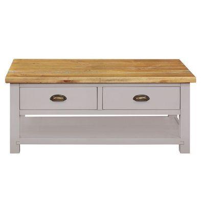 Dovetale Oak 2 Drawer 1 Shelf Coffee Table