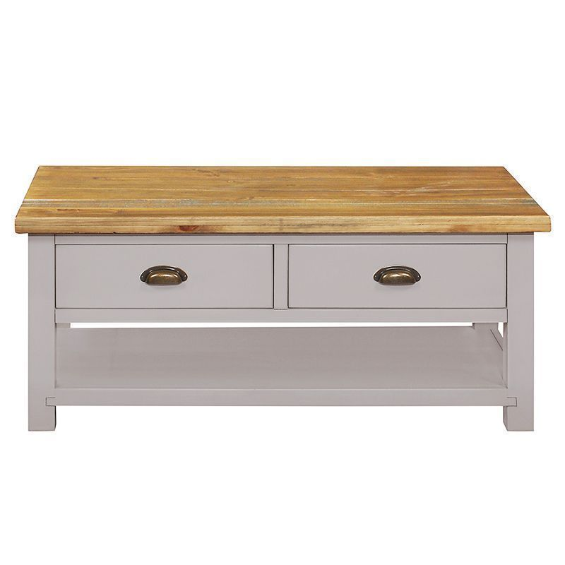 Dovetale Oak 2 Drawer 1 Shelf Coffee Table Furniture