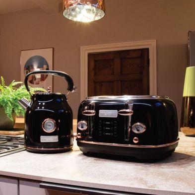 Image of Bentley Kettle & Toaster Set Black & Rose Gold 1.7L