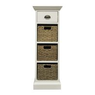 See more information about the Rivera Willow 3 Basket 1 Drawer Chest White