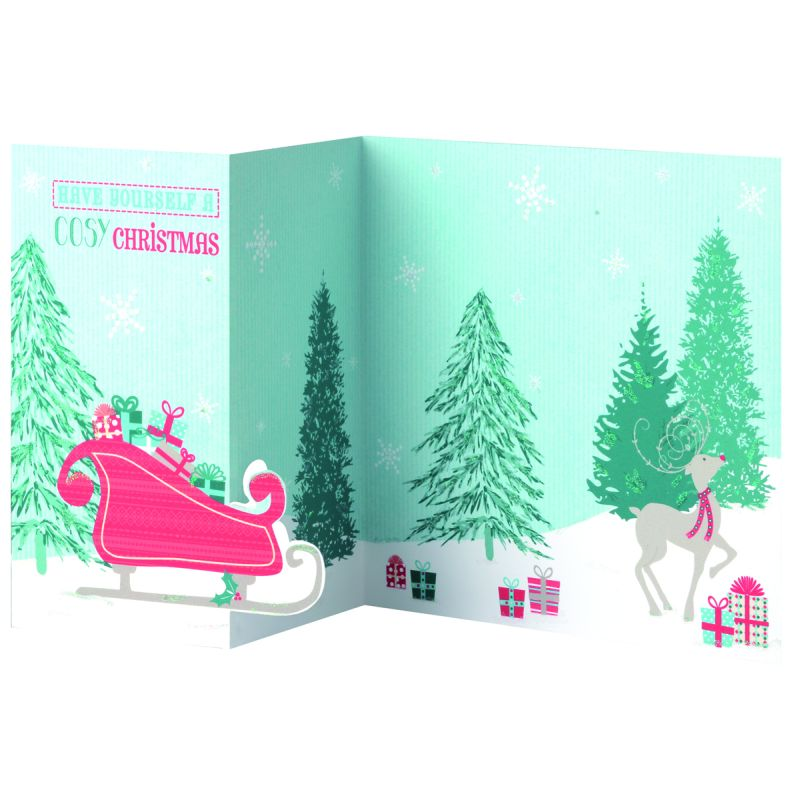 14 Folded Christmas Cards (Reindeer and Sleigh) - Buy Online at QD ...