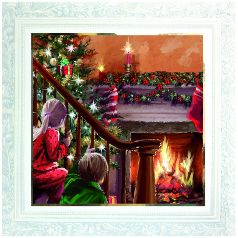 10 deluxe christmas cards children by the fire - Deluxe Christmas Cards