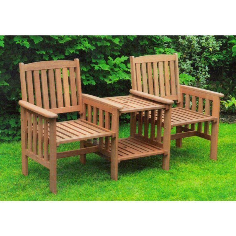 Garden furniture seat hardwood tete a tete seat love seat for Garden love seat uk