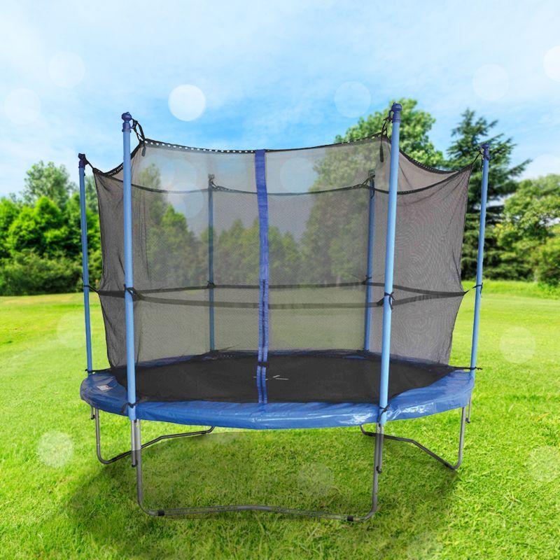 Outdoor kids 8 ft trampoline and enclosure garden summer for Garden enclosure
