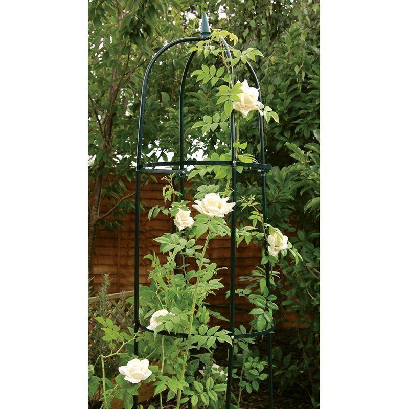 garden obelisk 190cm steel tubing plant support black tall. Black Bedroom Furniture Sets. Home Design Ideas