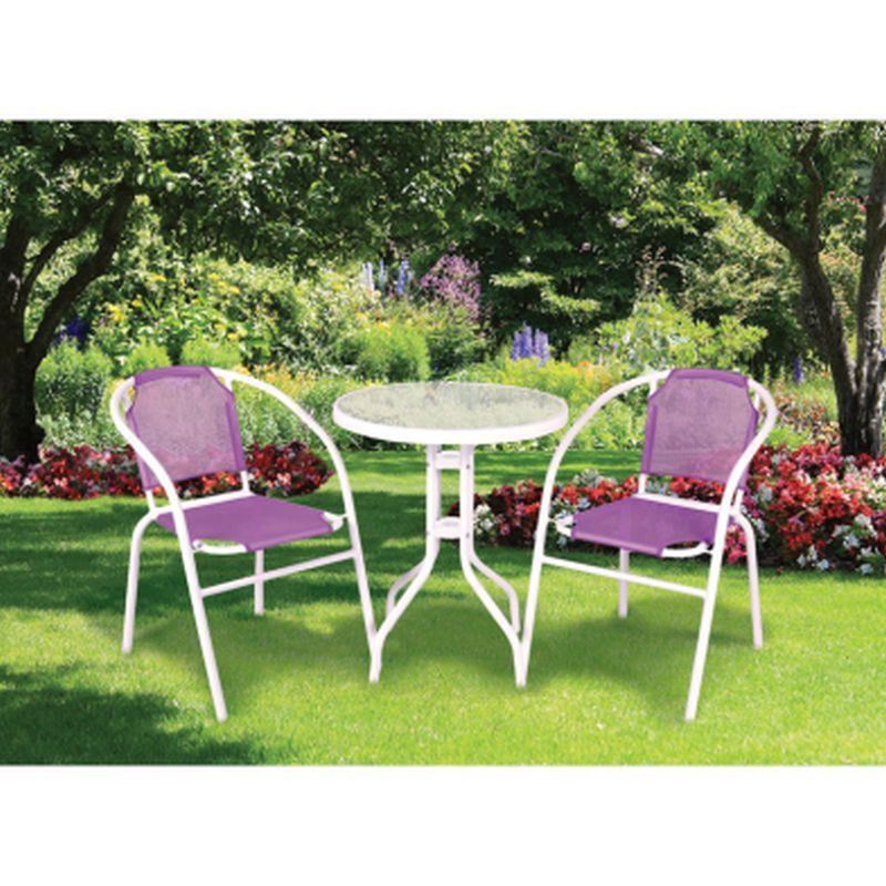 garden bistro set calella 3 piece purple bstro set garden furniture