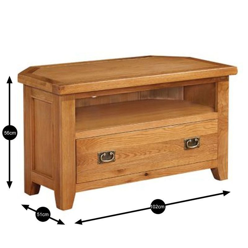 Cotswold Solid Oak Corner Tv Unit Wooden Stand Television