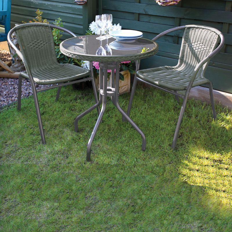 Green Bistro Set Garden Furniture Patio Summer Outdoor Table Chairs Lawn Urba