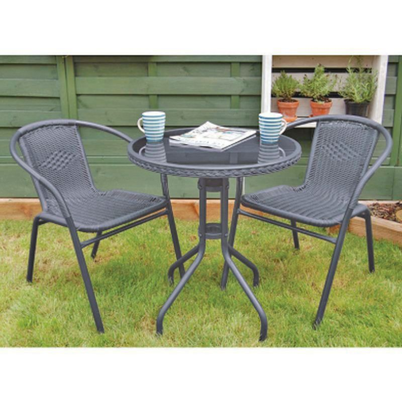 grey rattan bistro set 3 piece garden furniture set outdoor furniture
