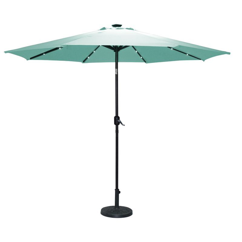Light Up Teal Parasol Solar Light Garden Umbrella Sun Shade Garden Patio