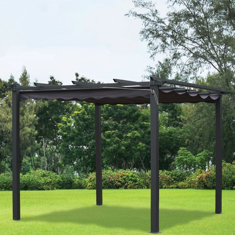 Pergola gazebo charcoal summer outdoor garden canopy 3x3m for Outdoor furniture gazebo