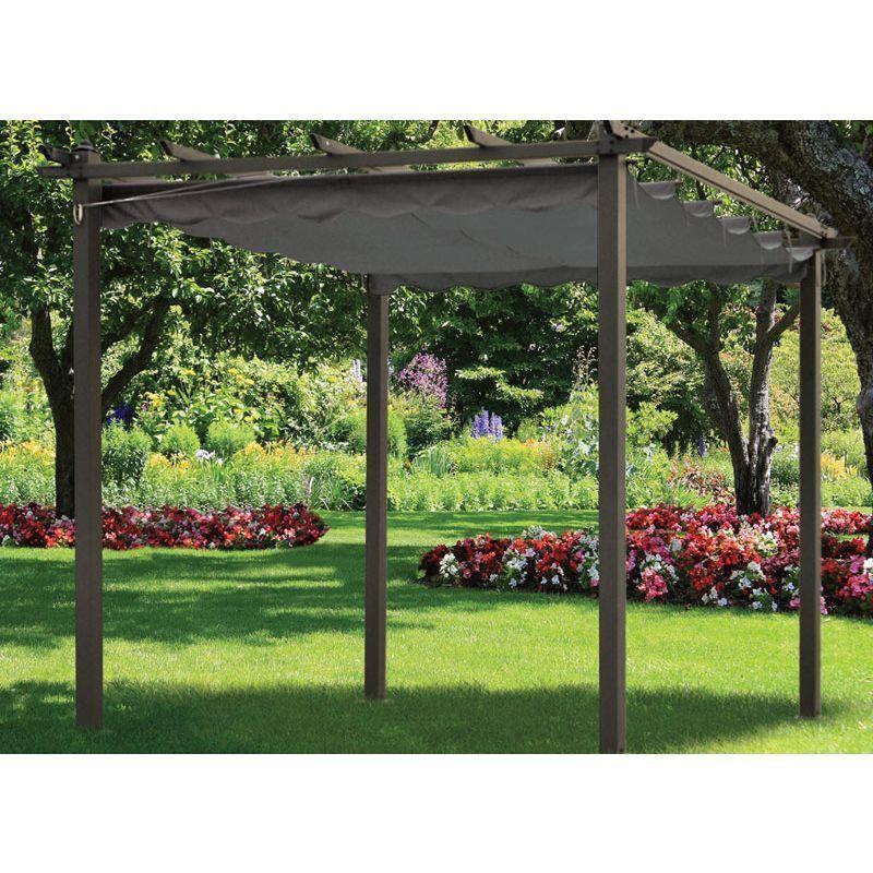Pergola gazebo metal framed sun canopy garden awning charcoal sun shade 3m x 3m ebay - Pergola metal adossee ...