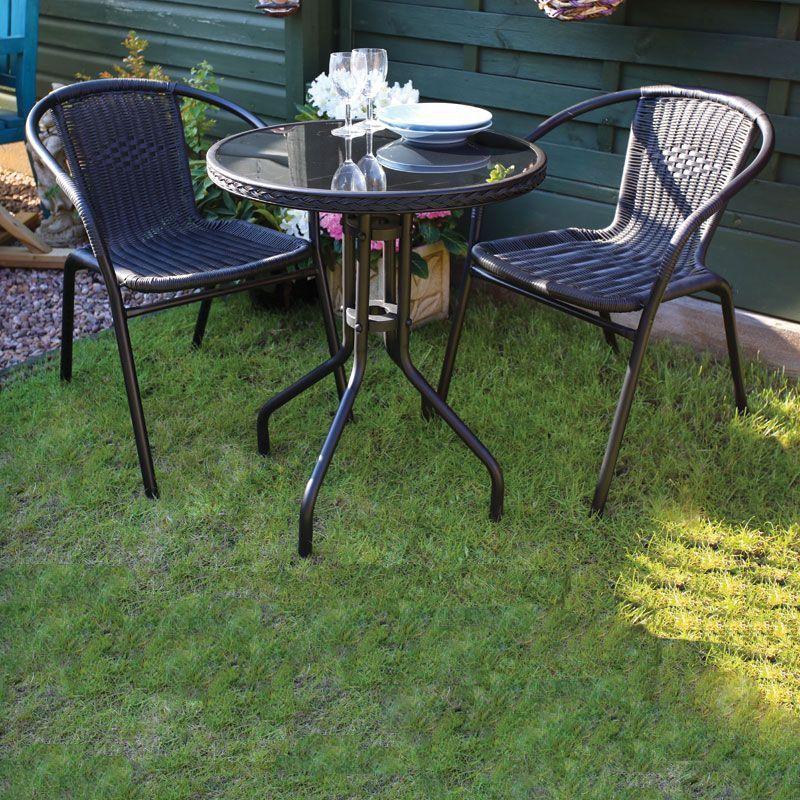 Black Bistro Set Garden Furniture Patio Outdoor Summer