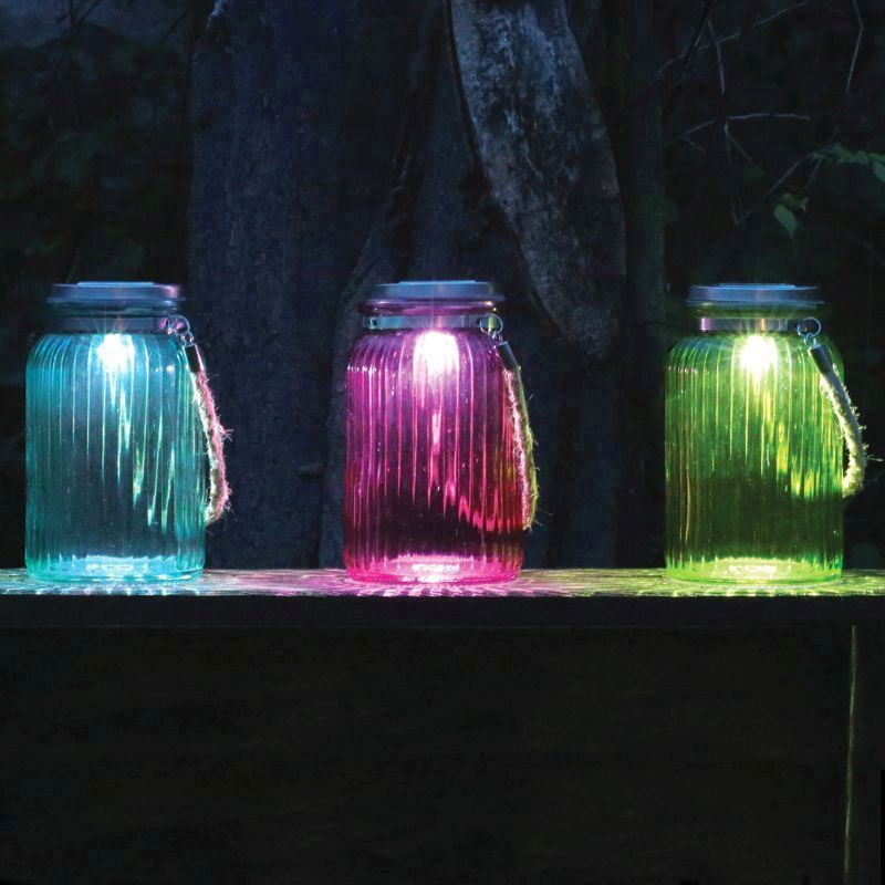 blue colour solar light jar with rope led garden outdoor