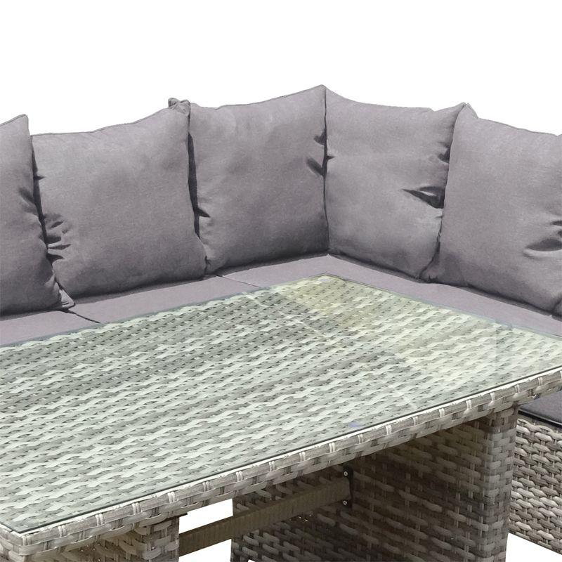 rattan corner sofa stool set summer garden patio
