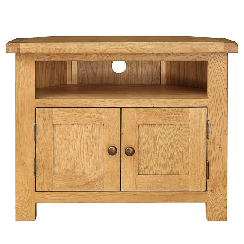 Classic Cotswold Oak Corner TV Unit Home Furniture Living ...