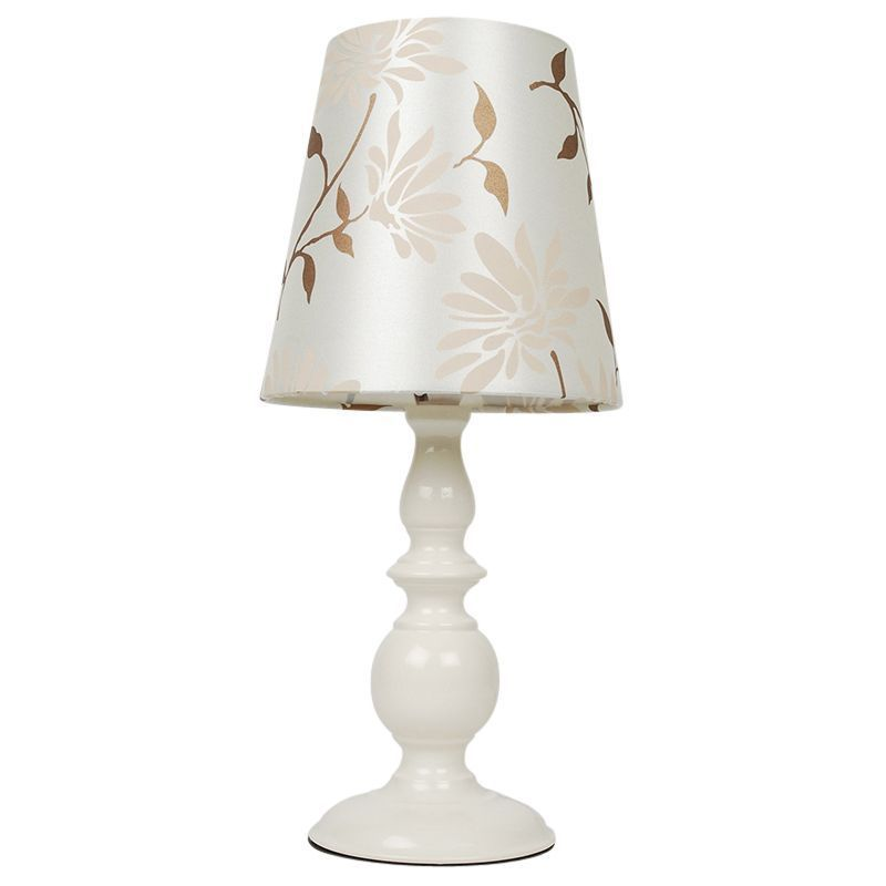 Modern Cream Floral Table Light Lamp With Shade Bedside