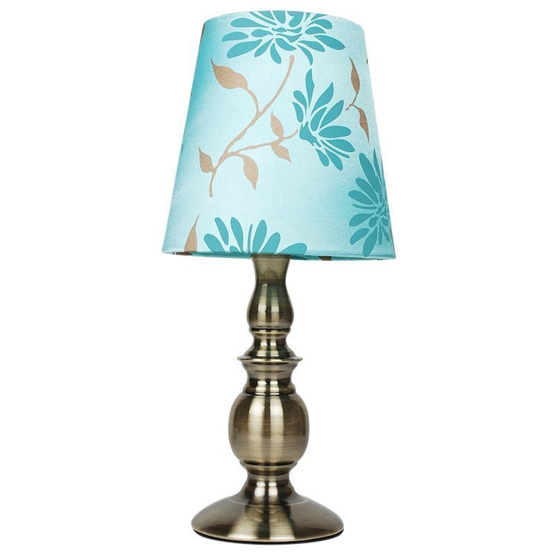 Modern Duck Egg Blue Floral Glass Table Light Lamp With