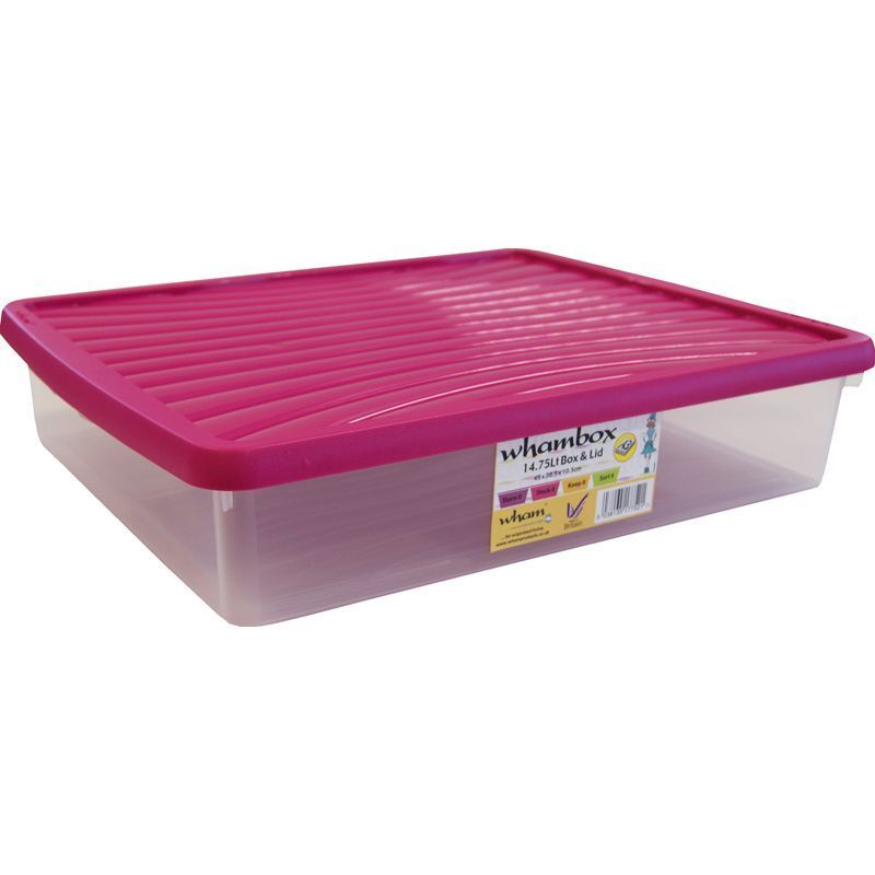wham plastic storage box clear box with fuschia pink lid plastic storage ebay. Black Bedroom Furniture Sets. Home Design Ideas