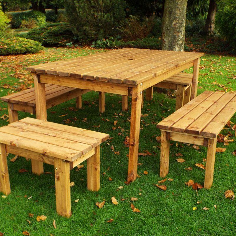 8 Seat 4 Benches 1 Table Scandinavian Redwood Patio Outdoor Garden
