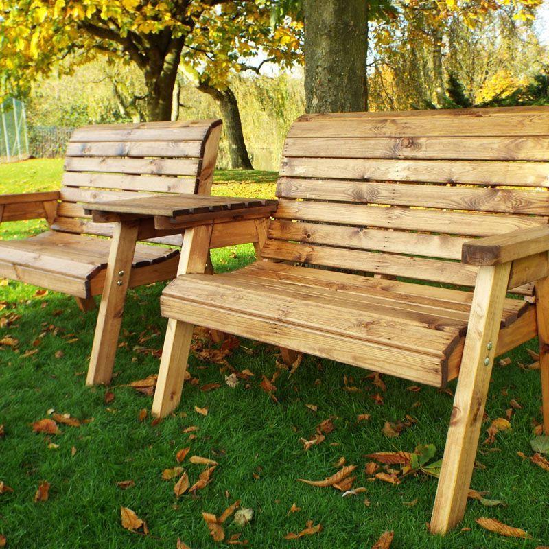 Twin Straight 2 Seater Traditional Scandinavian Redwood Garden Bench Set
