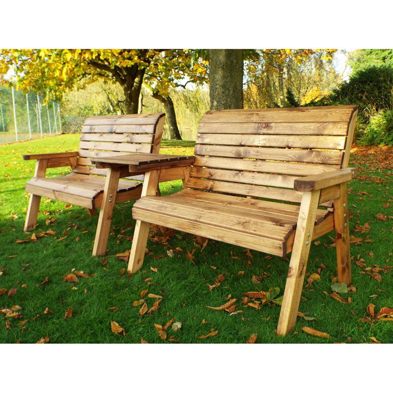 ... Picture 2 Of 2. Twin Straight 2 Seater Traditional Scandinavian Redwood  Garden Bench Set