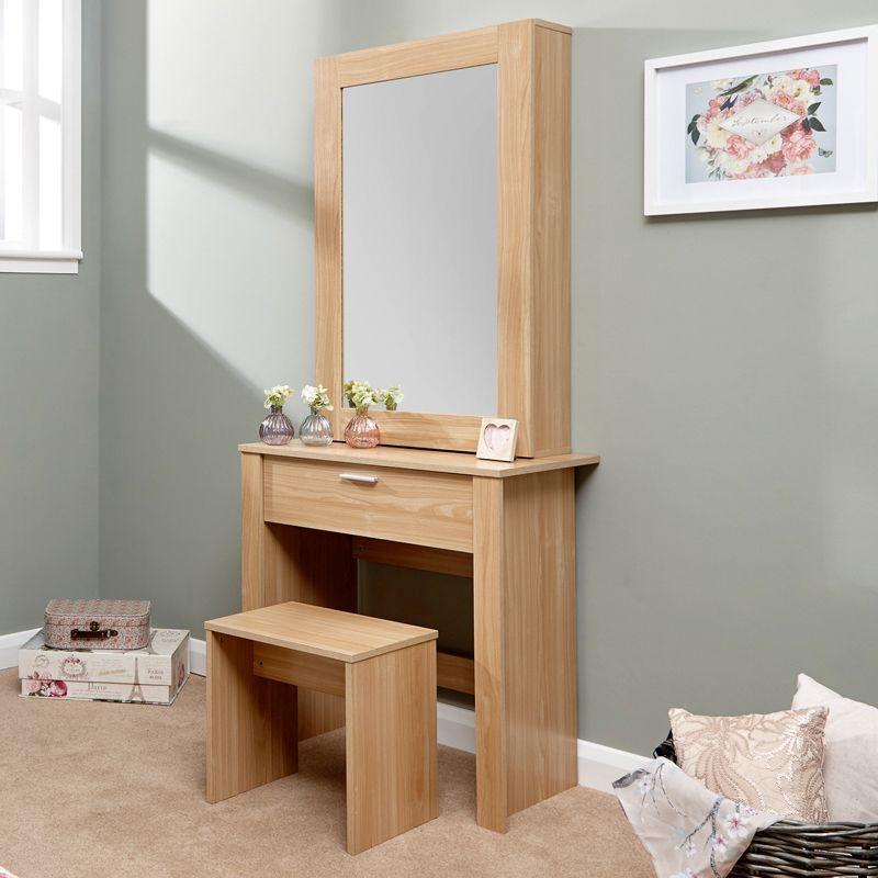 Hobson Oak Effect Mirrored Dressing Table Stool Set Bedroom