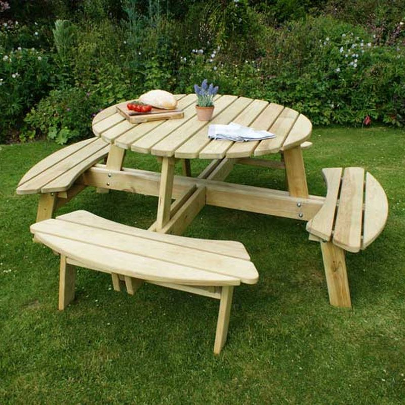 Enjoyable Poppy Wooden Round Garden Picnic Table Pabps2019 Chair Design Images Pabps2019Com